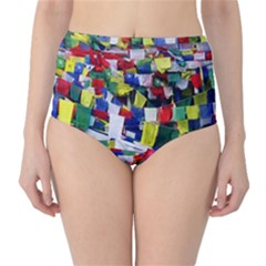 Tibetan Buddhist Prayer Flags High-Waist Bikini Bottoms