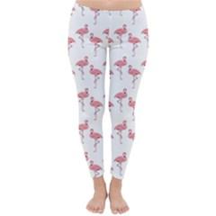 Pink Flamingo Pattern Winter Leggings