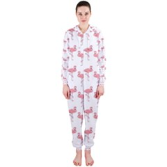 Pink Flamingo Pattern Hooded Jumpsuit (Ladies)