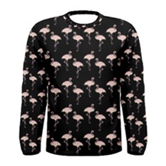 Pink Flamingo Pattern On Black  Men s Long Sleeve T Shirts