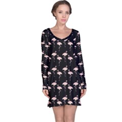 Pink Flamingo Pattern On Black  Long Sleeve Nightdresses