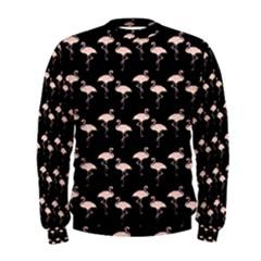 Pink Flamingo Pattern On Black  Men s Sweatshirts