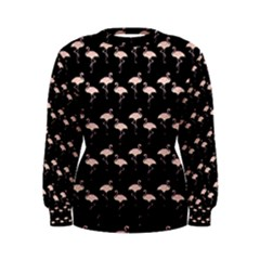 Pink Flamingo Pattern On Black  Women s Sweatshirts