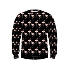 Pink Flamingo Pattern On Black  Boys  Sweatshirts