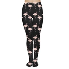 Pink Flamingo Pattern On Black  Women s Tights