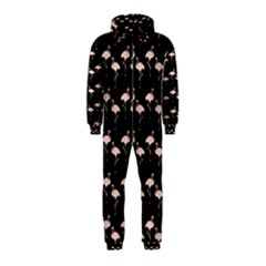 Pink Flamingo Pattern On Black  Hooded Jumpsuit (kids)