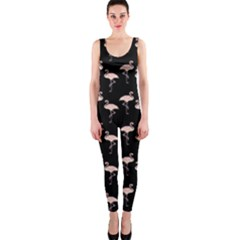 Pink Flamingo Pattern On Black  OnePiece Catsuits