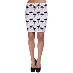 Flamingo Pattern Black On White Bodycon Skirts