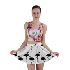 Flamingo Pattern Black On White Mini Skirts