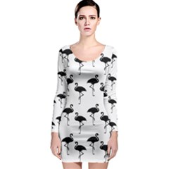 Flamingo Pattern Black On White Long Sleeve Bodycon Dresses