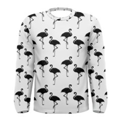 Flamingo Pattern Black On White Men s Long Sleeve T Shirts