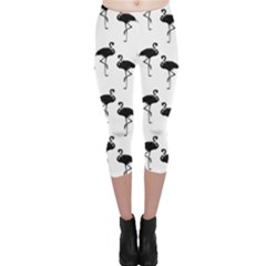 Flamingo Pattern Black On White Capri Leggings