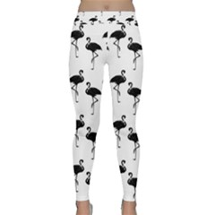 Flamingo Pattern Black On White Yoga Leggings