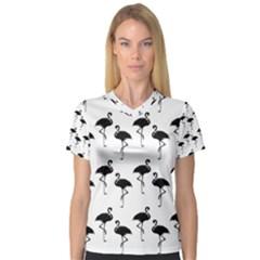 Flamingo Pattern Black On White Women s V-Neck Sport Mesh Tee