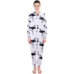 Flamingo Pattern Black On White Hooded Jumpsuit (Ladies)