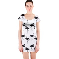 Flamingo Pattern Black On White Short Sleeve Bodycon Dresses