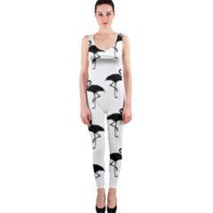 Flamingo Pattern Black On White Onepiece Catsuits