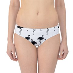 Flamingo Pattern Black On White Hipster Bikini Bottoms