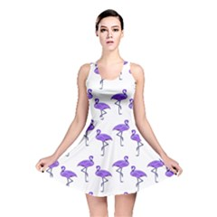 Flamingo Neon Purple Tropical Birds Reversible Skater Dresses