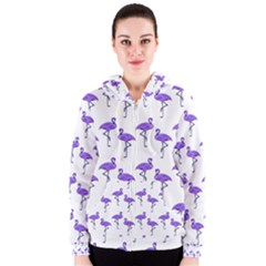 Flamingo Neon Purple Tropical Birds Women s Zipper Hoodies