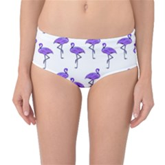 Flamingo Neon Purple Tropical Birds Mid-Waist Bikini Bottoms