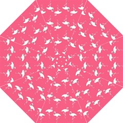 Flamingo White On Pink Pattern Folding Umbrellas