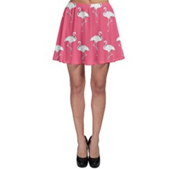 Flamingo White On Pink Pattern Skater Skirts