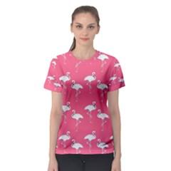 Flamingo White On Pink Pattern Women s Sport Mesh Tees