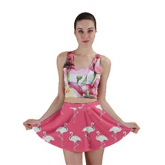 Flamingo White On Pink Pattern Mini Skirts