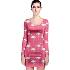 Flamingo White On Pink Pattern Long Sleeve Bodycon Dresses