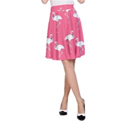 Flamingo White On Pink Pattern A-Line Skirts