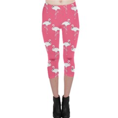 Flamingo White On Pink Pattern Capri Leggings