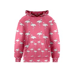 Flamingo White On Pink Pattern Kid s Pullover Hoodies