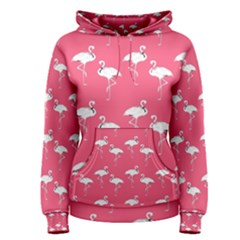 Flamingo White On Pink Pattern Women s Pullover Hoodies