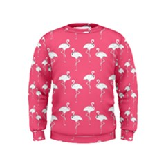 Flamingo White On Pink Pattern Boys  Sweatshirts