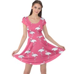 Flamingo White On Pink Pattern Cap Sleeve Dresses