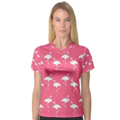Flamingo White On Pink Pattern Women s V-Neck Sport Mesh Tee