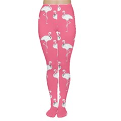 Flamingo White On Pink Pattern Women s Tights