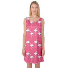 Flamingo White On Pink Pattern Sleeveless Satin Nightdresses