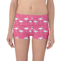 Flamingo White On Pink Pattern Boyleg Bikini Bottoms