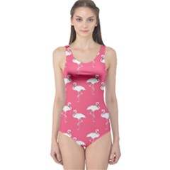 Flamingo White On Pink Pattern Women s One Piece Swimsuits