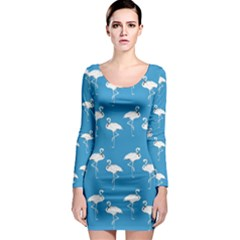 Flamingo White On Teal Pattern Long Sleeve Bodycon Dresses