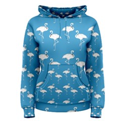 Flamingo White On Teal Pattern Women s Pullover Hoodies