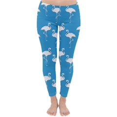 Flamingo White On Teal Pattern Winter Leggings