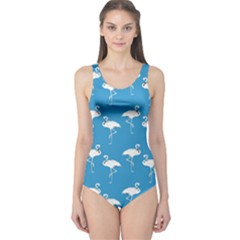 Flamingo White On Teal Pattern Women s One Piece Swimsuits