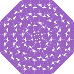 Flamingo White On Lavender Pattern Hook Handle Umbrellas (Small)