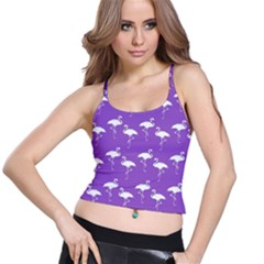 Flamingo White On Lavender Pattern Spaghetti Strap Bra Tops