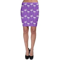 Flamingo White On Lavender Pattern Bodycon Skirts