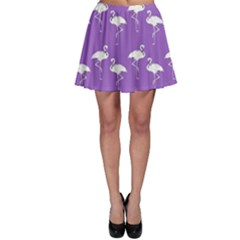 Flamingo White On Lavender Pattern Skater Skirts