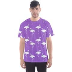Flamingo White On Lavender Pattern Men s Sport Mesh Tees